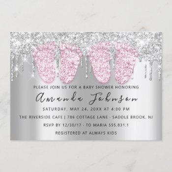 Baby Shower Drips Silver Gray Feet Twins Girls Invitation