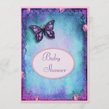 Baby Shower Faux Glitter, Butterfly, Roses, Lace