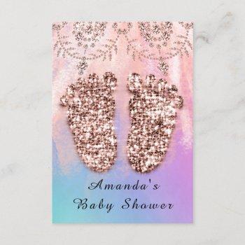 Baby Shower Feet Girl Boy Royal Rose Glitter Skin Invitation