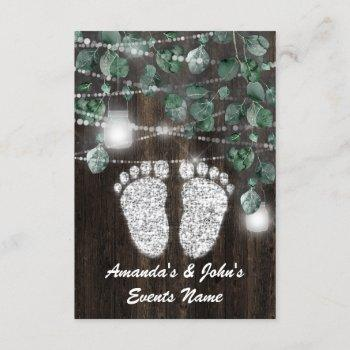 Baby Shower Feet Rustic Green Wood Silver
