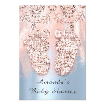 Baby Shower Feet Silver Girl Boy Royal Rose Blue Invitation