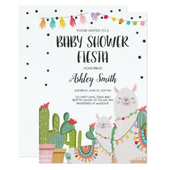 Baby Shower Fiesta Cactus Llama Confetti Mexican Invitation