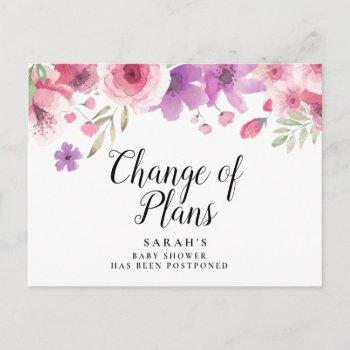 Baby Shower Floral Watercolour Postponed Postcard