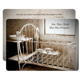 Baby Shower, For This Child She Has Prayed Vintage Invitation