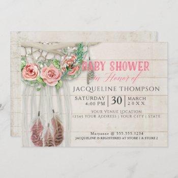 Baby Shower Girl Boho Dream Catcher Shiplap Wood Invitation