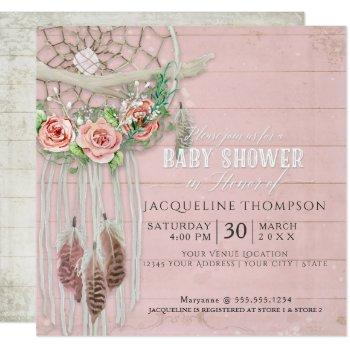 Baby Shower Girl Boho Dream Catcher Wood Feather Invitation