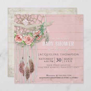 Baby Shower Girl Boho Dream Catcher Wood Feather Invitation