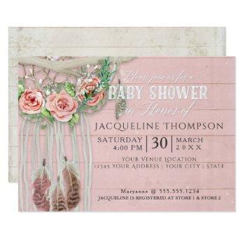 Baby Shower Girl Boho Dream Catcher Wood Floral Invitation