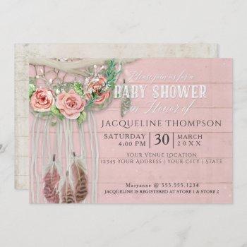 Baby Shower Girl Boho Dream Catcher Wood Floral Invitation