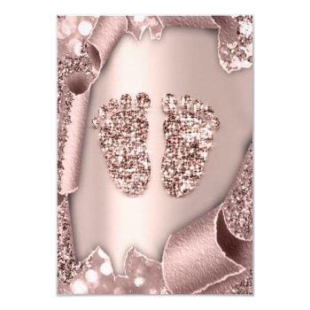Baby Shower Girl Boy Feet  Glam Rose Gold 3d Effec Invitation