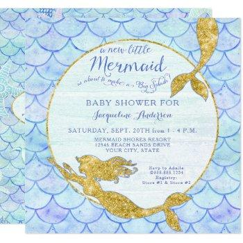 Baby Shower Girl Mermaid Watercolor Scales N Gold Invitation