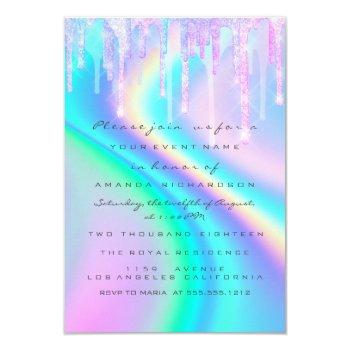 Baby Shower Girly Feet Drips Unicorn Holograph Invitation