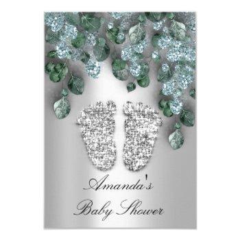 Baby Shower Glitter Feet Gray Eucalyptus Green Blu Invitation