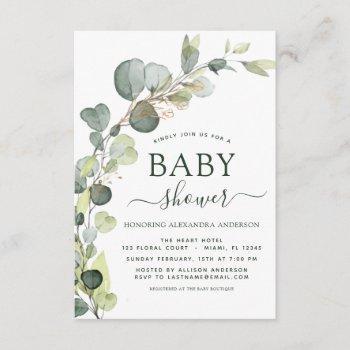 Baby Shower Greenery Eucalyptus Succulent Elegant Invitation