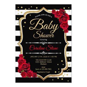 Baby Shower Invitation Black White Stripes Roses