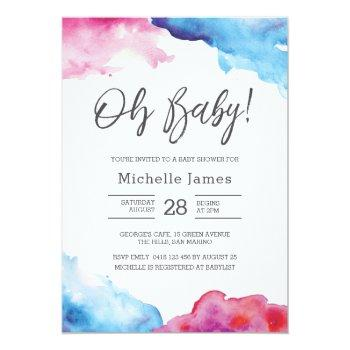 Baby Shower Invitation   Blue And Pink Watercolour