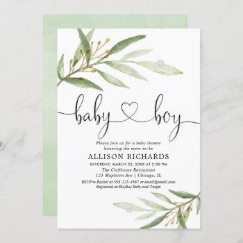 Baby Shower Invitation Boy Simple Modern Greenery