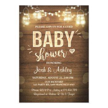 Baby Shower Invitation Coed Rustic Wood Mason Jars