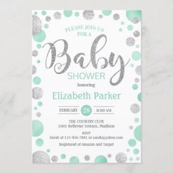 Baby Shower  - Green Mint Silver Dots