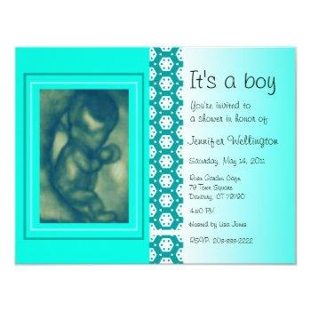 Baby Shower Invitation Green Ultrasound