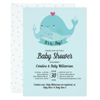 Baby Shower Invitation It's A Boy Cute Whale