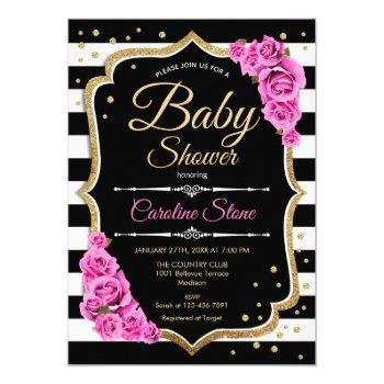 Baby Shower Invitation Pink Black White Stripes
