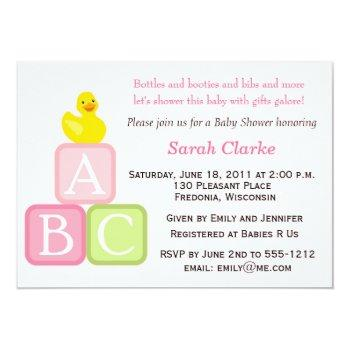 Baby Shower Invitation With Duckie And Abc Blocks