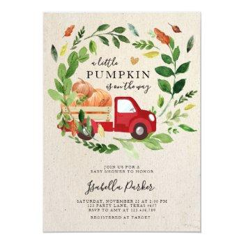 Baby Shower Little Pumpkin Truck Fall Greenery Invitation
