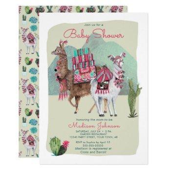 Baby Shower   Llamas & Cactus   Invitations