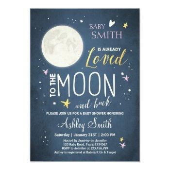Baby Shower Love You To The Moon Girl Pink Gold Invitation