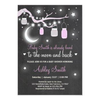 Baby Shower Love You To The Moon Shower Girl Pink Invitation
