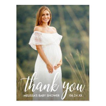 Baby Shower Modern Script Thank You Photo Postcard
