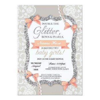 Baby Shower Peach Glitter Bow Twins Girls Invite