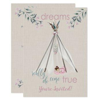 Baby Shower  Pink  Boho Tipi Dreamcatcher Invitation