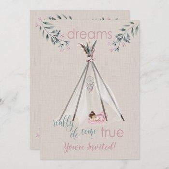 Baby Shower  Pink  Boho Tipi Dreamcatcher Invitation