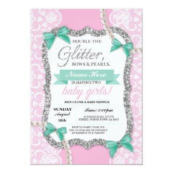 Baby Shower Pink Glitter Bow Twins Girls Invite