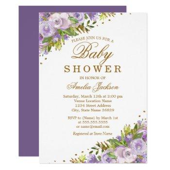 Baby Shower Purple Floral Watercolor Gold Invitation