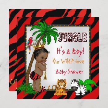 Baby Shower Safari Jungle Wild Prince Red Ethnic Invitation