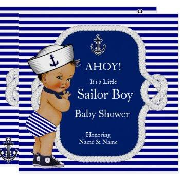 Baby Shower Sailor Boy Blue Stripe Brunette Invitation