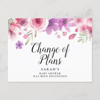 Baby Shower Script Watercolour Floral Postponed Announcement Postcard