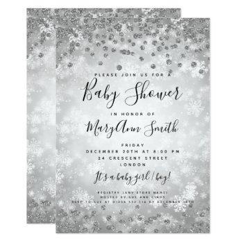 Baby Shower Silver Glitter Winter Wonderland Invitation
