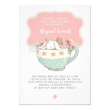Baby Shower Tea Party White Rabbit Invitation