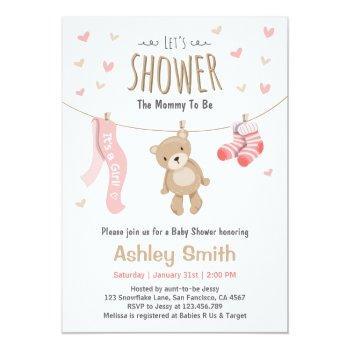 Baby Shower Teddy Bear Invitation Baby Girl Pink
