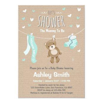 Baby Shower Teddy Bear Invitation Baby Mint Green