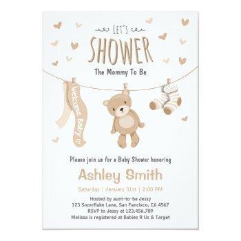 Baby Shower Teddy Bear Invitation Brown White