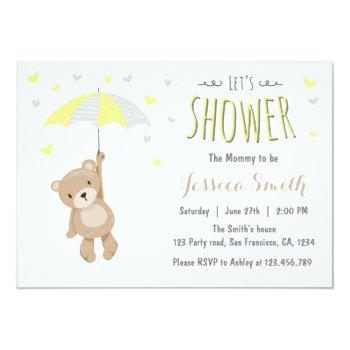 Baby Shower Teddy Bear Invitation Yellow Neutral
