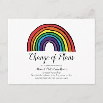 Baby Shower  Watercolour Rainbow Change Of Date Postcard