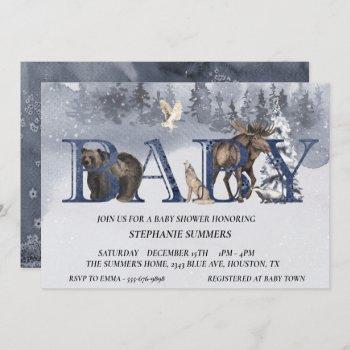 Baby Shower Woodland Bear Winter Watercolor Invitation
