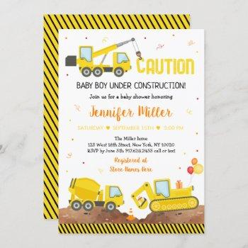 Baby Under Construction Boy Truck Baby Shower Invitation