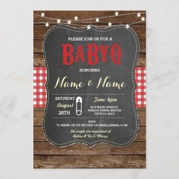 Babyq Bbq Baby Shower Red Chalk Wood Invite